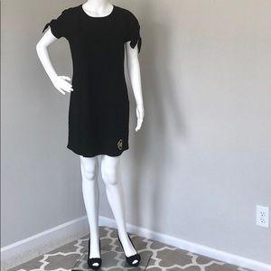 🆕Michael Kors Basics Tee Dress Black w/ Gold Logo